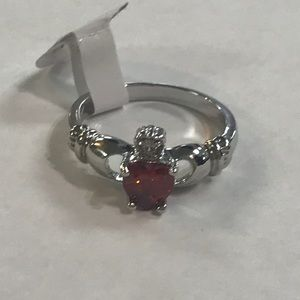 Claddagh Ring Silver-Plated Red Glass Stone ☘️